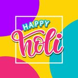 Happy Holi poster with hand written modern calligraphy. Vector typography design. Colorful party background Royalty Free Stock Photo