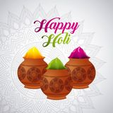 Happy holi powder color mud pot and mandala background. Vector illustration Royalty Free Stock Photo