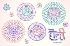 Happy holi rangoli design. In colorful tones with calligraphy stock illustration