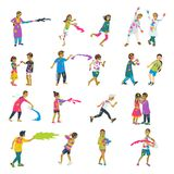 Happy holi set of 20 children characters playing holi. Vector set of characters. Cartoon flat style royalty free illustration