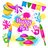 Happy Holi set of elements. Buckets with paint, water guns, flags, blots and stains Royalty Free Stock Image