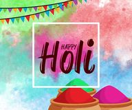 Happy Holi spring festival of colors background with realistic volumetric colorful Holi powder paint clouds and sample text. Blue,. Yellow, pink and violet Stock Photo