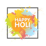 Happy Holi spring festival of colors greeting background with colorful Holi powder paint clouds and sample text. Blue, yellow, pin. K and orange powder paint Stock Image