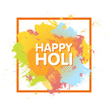 Happy Holi spring festival of colors greeting background with colorful Holi powder paint clouds and sample text. Blue, yellow, pin. K and orange powder paint Royalty Free Stock Images