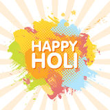 Happy Holi spring festival of colors greeting background with colorful Holi powder paint clouds and sample text. Blue, yellow, pin. K and orange powder paint Royalty Free Stock Photo
