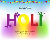 Happy Holi spring festival of colors greeting vector background. With colorful Holi.Green, yellow, pink and violet powder paint. Streamers with flags at the top Stock Image