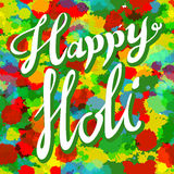 Happy Holi spring festival of colors greeting vector background with realistic volumetric colorful Holi powder paint clouds and sa Royalty Free Stock Image