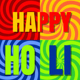 Happy Holi. Stylish colorful holi festival background. Indian festival of colors celebration. Banner with text Holi. Vector bright colorful background Royalty Free Stock Photo