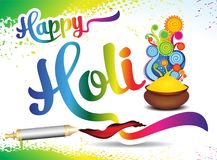 Happy holi text background with color bowl Stock Images
