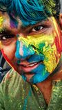 Happy holi to all dear families and friends Stock Images