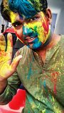 Happy holi to all friends Stock Photography