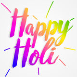 Happy Holi typography composition isolated on white background. Text vector illustration. Design template for poster, web banners ad, party invitation, article Royalty Free Stock Photo