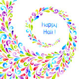 Happy holi. Vector background made from colorful swirl shapes. Abstract decorative background for festival poster, card, article, flyer. Happy holi Royalty Free Stock Photography