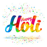 Happy Holi vector sign with colorful triangles pattern Stock Photography