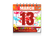Happy Holi. Wall calendar with the date of March 13. Annual Hindu festival of color and spring. Vector illustration isolated on white background Stock Images