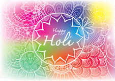 Happy Holi word inside the floral mandala flowers line art with blurred Holi powder paint clouds background for banner, poster and Stock Photography