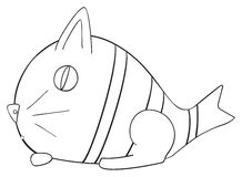 Happy holiday - April fish Cat. Figure of April fish Cat on white background in the Happy holiday collection Stock Photo