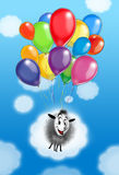 Kids Happy holiday background. Happy holiday background, funny sheep flying with colorful balloons on light blue sky and white clouds. Hand drawn digital color stock illustration