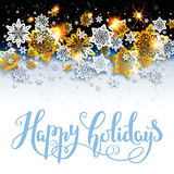 Happy holiday background with shine snowflakes Stock Photo
