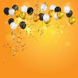 Happy holiday balloon. Color holiday white, gold and black balloons. Holiday balloons and confetti. Anniversary, celebration or party decoration Stock Photo