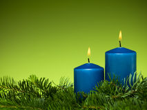 Happy holiday blue candles Royalty Free Stock Photos