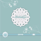 Happy holiday 2016 blue vintage. Happy Holiday 2016 Over Paper Snowflake and Floral Motive on Vintage Blue Background vector illustration