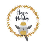 Happy Holiday Card with Owl Bird in Round Frame Stock Photos