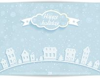 Happy holiday card with white paper town. Abstract Happy holiday card with white paper house and 3D cloud on light winter sky background. vector Ai Royalty Free Illustration