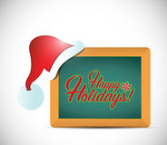 Happy holiday christmas hat and sign board Royalty Free Stock Photography