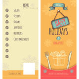 Happy Holiday and Christmas menu. Special menu design in retro style for Christmas and New Year holidays, cover and backcover. Fully layered EPS 10 Royalty Free Stock Photography