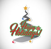 Happy holiday christmas tree illustration Royalty Free Stock Photography