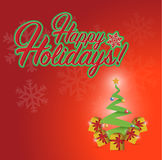 Happy holiday christmas and tree presents Royalty Free Stock Photography