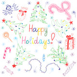 Happy Holiday!Colorful  Children Drawings of Fir trees Arranged in a Circle. Funny Doodle Candies, Garlands, Gifts and Angel Royalty Free Stock Photos