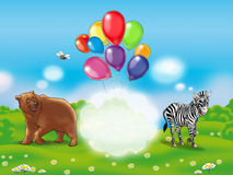 Happy Holiday. Composition. Funny, Cute and Happy animals scene. Bear, zebra, bee, summer, flying colorful balloons on light blue sky and white cloud. Cute Royalty Free Stock Image