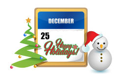 Happy holiday December 25th sign Stock Photography