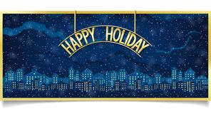 Happy Holiday design with gold signboard Royalty Free Stock Images