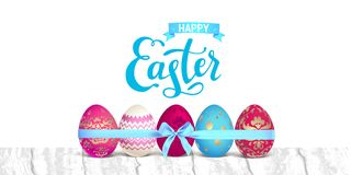 Happy holiday Easter banner. Bright Easter eggs festive banner. Easter holiday illustration for design card, invitation, banner, ticket, leaflet, poster and so Royalty Free Stock Photography