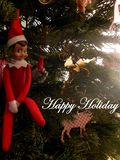 Happy Holiday from Elf on the Shelf royalty free stock photography