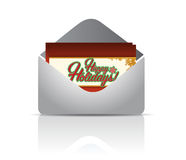 Happy holiday envelope and card Royalty Free Stock Image