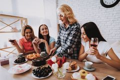 Happy Family Time Together. Springtime Together. Happy Holiday with Family. Cake for all Family in Breakfast. Romantic Day with Family. Happiness and Smile Time stock images