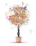 Happy holiday, funny tree with balloons in pot vector illustration