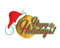 Happy holiday globe hat sign illustration Stock Photos