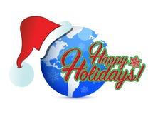 Happy holiday globe hat sign illustration Stock Photography