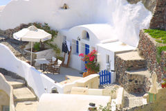 Happy holiday in greece. Of the island santorini Stock Image