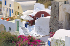 Happy holiday in greece. Of the island santorini Royalty Free Stock Photography