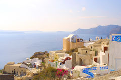 Happy holiday in greece. Of the island santorini Stock Photo