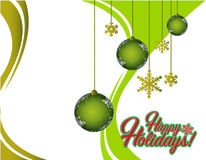 Happy holiday green card ornaments Royalty Free Stock Photography