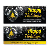 Happy holiday greeting banner and card design template. Merry christmas and New year theme concept Stock Photo