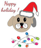 Happy holiday greeting card with cute dog with festive garland. For card, child magazine, invitation, posters, texture backgrounds, placards, banners Stock Photos