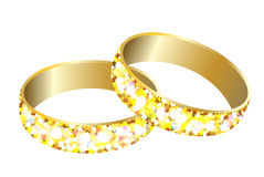 Happy holiday.Greeting card with gold wedding rings Stock Images